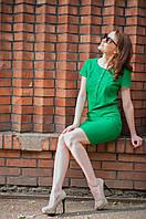 Платье лен однотонное ярко-зеленого цвета