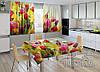 """Фото комплект для кухни """"Весна"""" (шторы 2,0м*2,9м; скатерть 1,45м*1,7м)"""