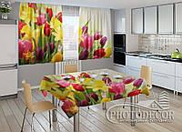 """Фото комплект для кухни """"Весна"""" (шторы 1,5м*2,5м; скатерть 1,0м*1,2м)"""