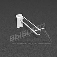 Крючок серый одинарный на экономпанель с ценником (КОЭцу-150). Торговые крючки. Крючки в экономпанель.