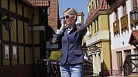 Модный пиджак с латками на рукавах синий 46 р 101