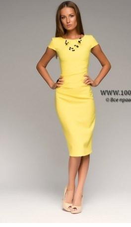 97407939999 Платье футляр желтого цвета с драпировкой на талии - Интернет-магазин одежды  и обуви от