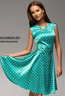 Платье в горошек бирюзовое с клешеной юбкой в ретро стиле с воротником