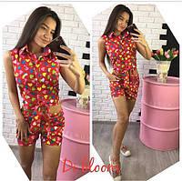Женский стильный хлопковый костюм: рубашка с завязками и шорты (4 цвета)