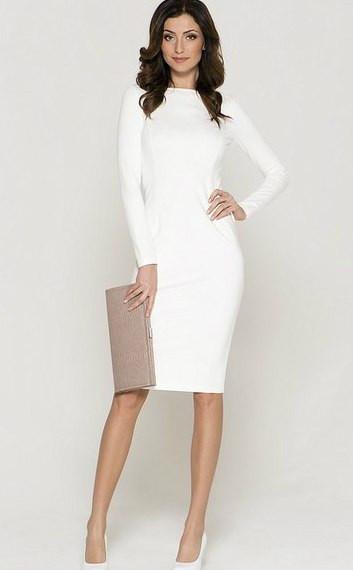 3d405fe70b0e Стильное молочное трикотажное платье футляр - Интернет-магазин одежды и  обуви от производителя