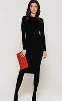 Платье трикотажное черное основа образа , длинный рукав