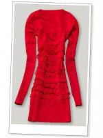 Платье с рюшами впереди красное S / M В11330
