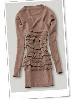 Платье с рюшами впереди кофейное S / M В11332