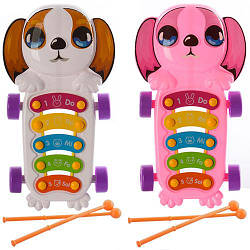 Ксилофон 8359 (96шт) 5 тонов, 29,5-16-3,5см, палочки 2шт, 2 цвета, в кульке, 19-33-3,5см