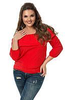 """Летняя женская блуза прошва """"Safina"""" с оборкой и четвертным рукавом (большие размеры)"""