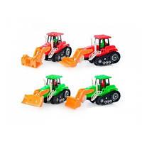 Трактор 1001 (300шт) инер-й,подвижний ковш,4 вида, в кульке,16-8,5-7,5см