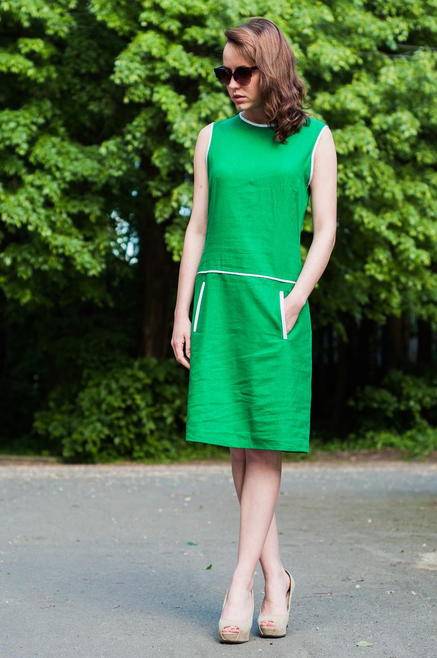 e010a312721 Однотонное платье из льна - Магазин МОДНАЯ КУКЛА платья оптом от  производителя в Хмельницком