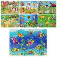 Деревянная игрушка Рамка-вкладыш MD 0009 (72шт) животные, 8 видов, в кульке, 29,5-21,5-1,5см