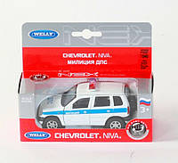 "Машина Welly ""NIVA CHEVROLET"" милиция, метал., в кор. 16*7*6см (36шт)"