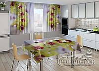 """Фото комплект для кухни """"Желтые орхидеи"""" (шторы 1,5м*2,5м; скатерть 1,0м*1,2м)"""