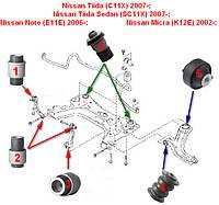 Сайлентблок Renault Megane 2 2002-; Scenic 2 2003-; Modus 2004; Nissan Tiida (C11X, SC11X) 2007-; Note (E11E, фото 1