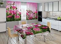 """Фото комплект для кухни """"Розовые розы и бабочки"""" (шторы 1,5м*2,0м; скатерть 0,8м*1,0м)"""