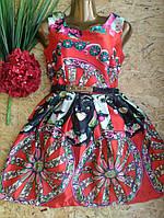 Платье+пояс шелковое ZARA 6036 42-44р красный