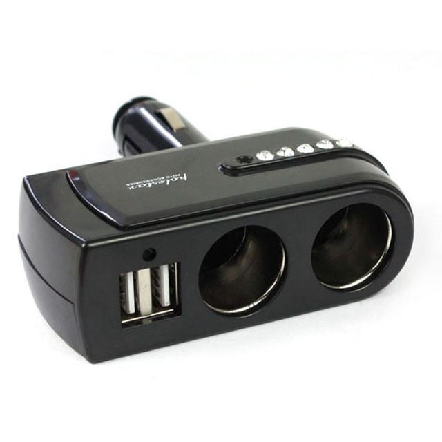 Адаптер питания 2.1A/1.0A 80 Вт Dual USB. Автомобильное зарядное устройство. Со СВЕТОДИОДНОЙ подсветкой.