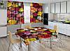 """Фото комплект для кухни """"Разноцветные розы"""" (шторы 2,0м*2,9м; скатерть 1,45м*1,7м)"""