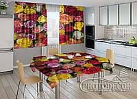 """Фото комплект для кухни """"Разноцветные розы"""" (шторы 1,5м*2,5м; скатерть 1,0м*1,2м)"""