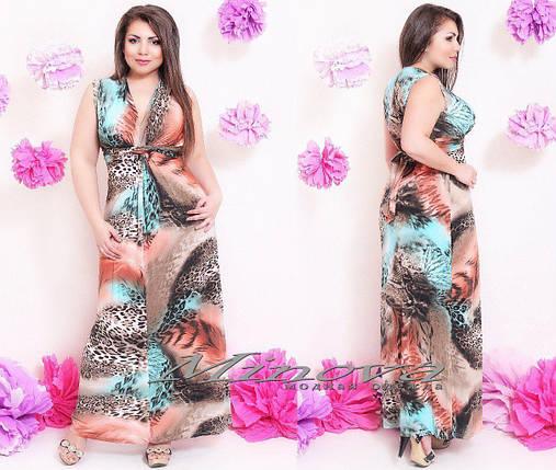 """Красивое платье-сарафан в пол с поясочком """"Масло"""" 46, 48 размеры, фото 2"""