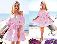 """Летнее стильное женское платье с открытыми плечами """"Крестьянка Однотон Фонарик"""" в расцветках, фото 1"""