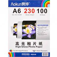 Фотобумага А6 пл. 230г/м², 100 листов, глянцевая