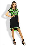 Летнее женское ассиметричное платье в стиле милитари
