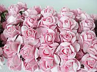 Бумажные цветочки для скрапбукинга 12 шт. 2 см на ножке розовые