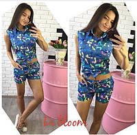 Женский стильный джинсовый костюм: рубашка с завязками и шорты (4 цвета) 4, М