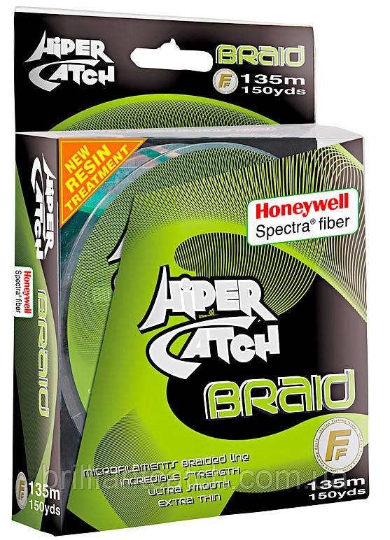 Шнур Lineaeffe Hiper Catch Spectra Braid 135м/150yds  0,150мм  FishTest-14,00кг Light Grey