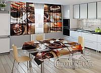 """Фото комплект для кухни """"Кофе"""" (шторы 2,0м*2,9м; скатерть 1,45м*1,7м)"""
