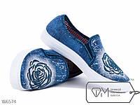 Слипоны женские джинс роза, р 36, 37