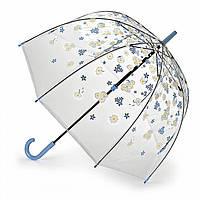 Женский зонт-трость прозрачный Fulton Birdcage-2 L042 - Falling Daisies