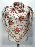 Лёгкий натуральный платок в народном стиле, белый с красным