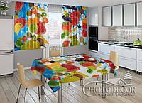 """Фото комплект для кухни """"Фрукты микс"""" (шторы 1,5м*2,0м; скатерть 0,8м*1,0м)"""