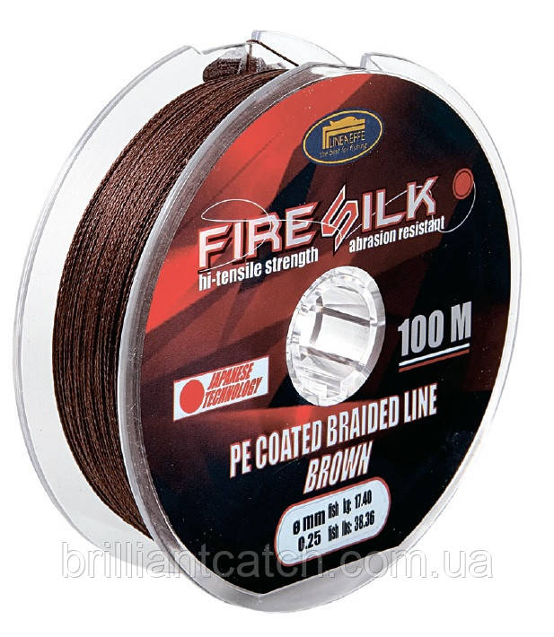 Шнур Lineaeffe Fire Silk  PE Coated  100м  0,20мм FishTest-13,92кг  Made in Japan