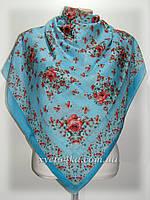 Лёгкий натуральный платок в народном стиле, голубой