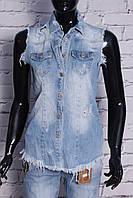 Модная женская джинсовая жилетка рваная (код 17211)