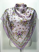 Лёгкий натуральный платок в народном стиле, сиреневый
