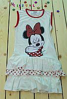 Симпатичное   летнее  платье Микки белое для девочки5-8  лет