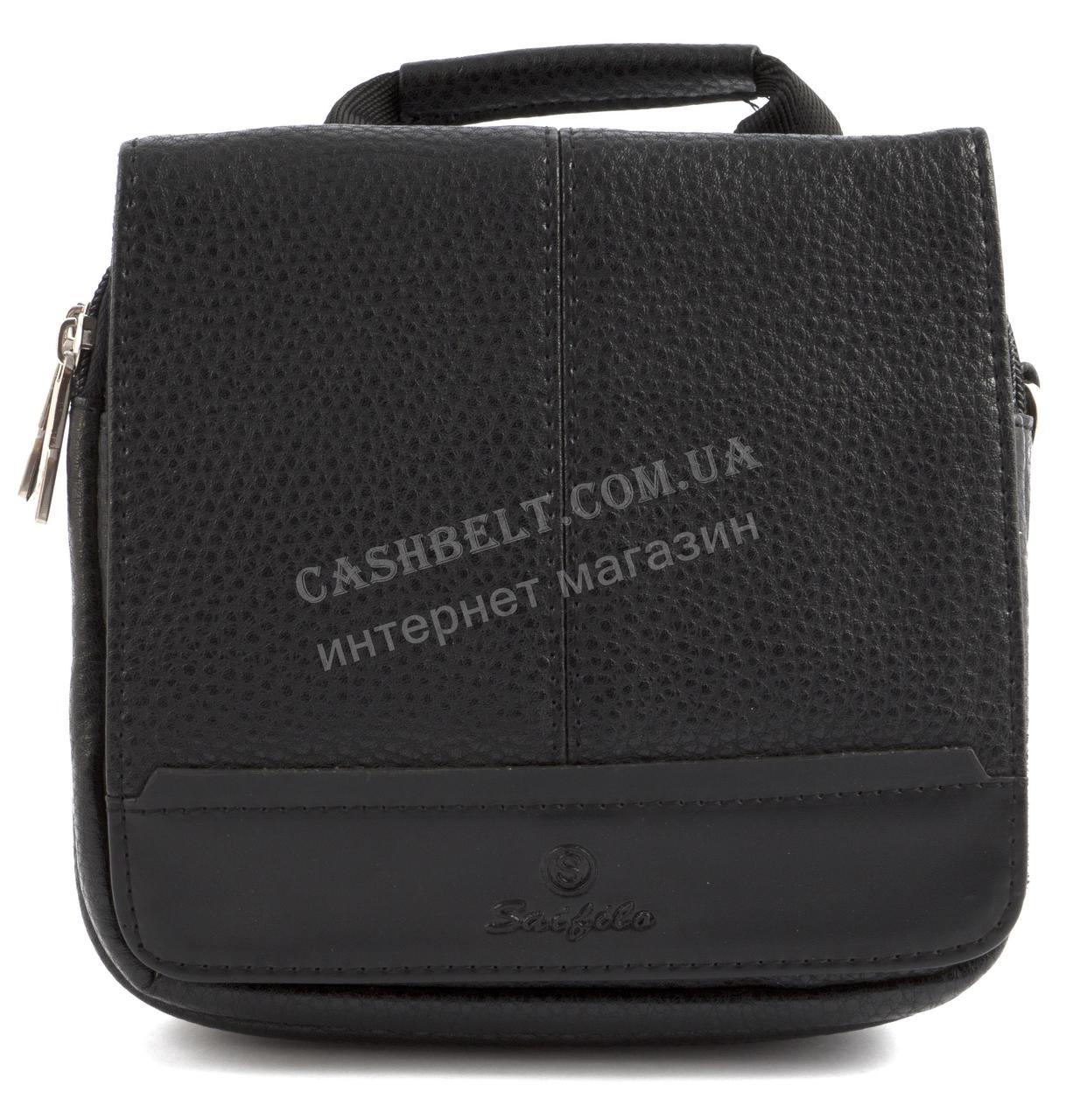 Зручна невелика міцна чоловіча сумка з якісної шкіри PU SAIFILO art. SF095-1 чорний