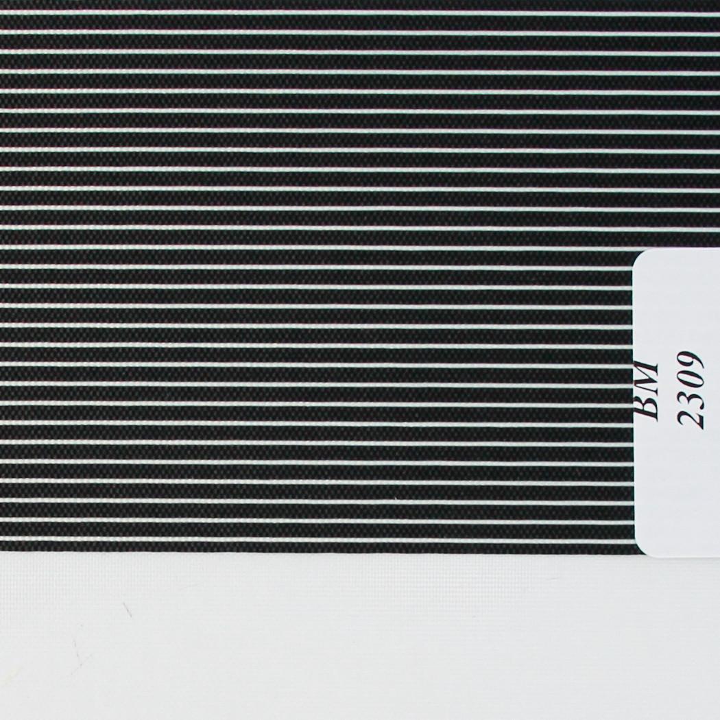 Рулонні штори День-Ніч Тканина Смужка ВМ-2309 Чорний