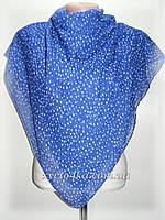 Жатые платки на нуральной основе Рябь, синий