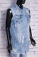 Стильный жилет женский джинсовый удлиненный (код 17686)