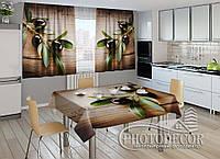 """Фото комплект для кухни """"Маслины"""" (шторы 1,5м*2,5м; скатерть 1,0м*1,2м)"""