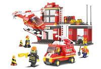 Конструктор SLUBAN M38-B0225 (12шт) пожарные спасатели фигурки,транспорт,371дет,в кор-ке,42,5-33-7см