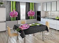 """Фото комплект для кухни """"Орхидеи и бамбук""""(шторы 1,5м*2,5м; скатерть 1,0м*1,2м)"""