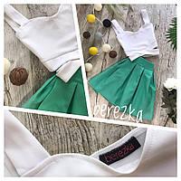 Топ с переплетом и мини юбка в складку 0871-2